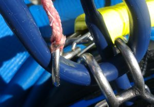 Example of a safety ring that gets in the way on a standard North bar) when re-hooking in suicide mode