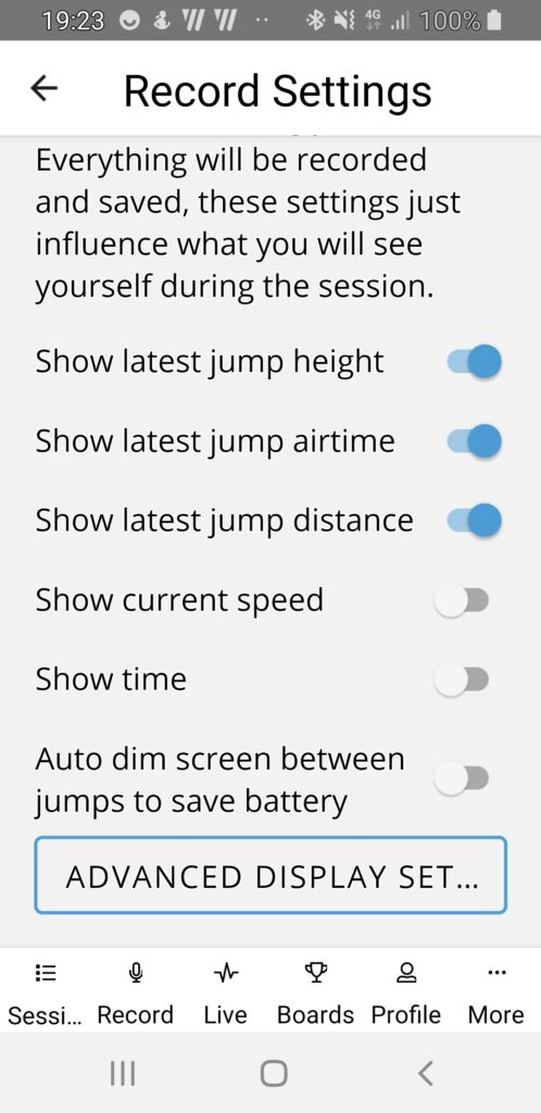 Screen settings Surfr app