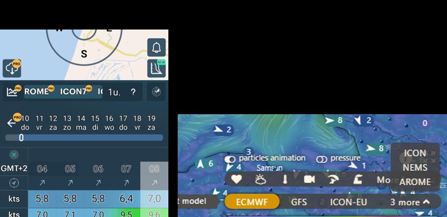 left: Windy.app (2 free models). Right: Windy.com (6 free models)